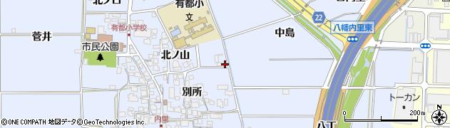 京都府八幡市内里(北ノ山)周辺の地図