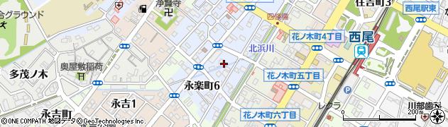 愛知県西尾市永楽町周辺の地図