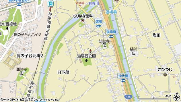 〒651-1501 兵庫県神戸市北区道場町道場の地図