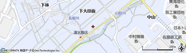 愛知県豊川市萩町(下大田面)周辺の地図