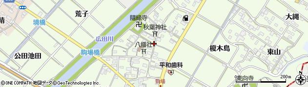 愛知県西尾市駒場町(屋敷)周辺の地図