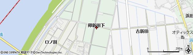 愛知県西尾市中畑町(卯新田下)周辺の地図