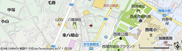 愛知県西尾市下町(八幡下)周辺の地図