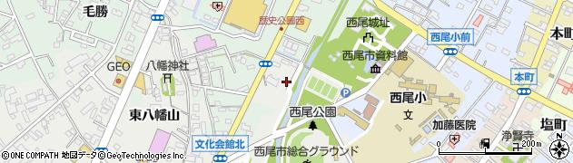 愛知県西尾市山下町(城南)周辺の地図