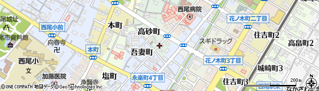 愛知県西尾市南旭町周辺の地図