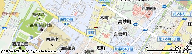 愛知県西尾市本町周辺の地図