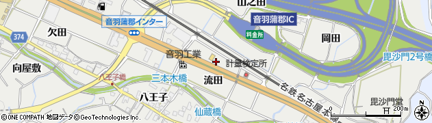 愛知県豊川市長沢町(流田)周辺の地図