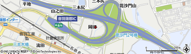 愛知県豊川市長沢町(岡田)周辺の地図