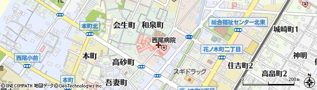 愛知県西尾市北旭町周辺の地図