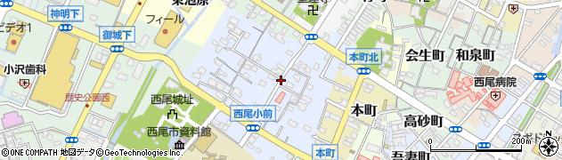 愛知県西尾市錦城町周辺の地図
