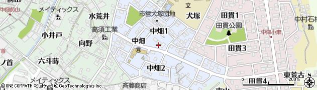 愛知県西尾市中畑周辺の地図
