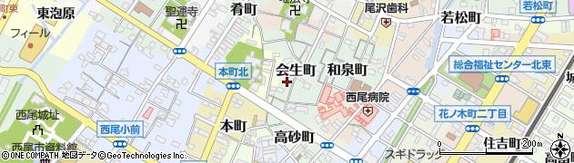 愛知県西尾市会生町周辺の地図
