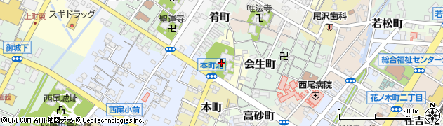愛知県西尾市満全町周辺の地図