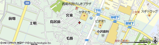 愛知県西尾市下町(山ノ崎)周辺の地図