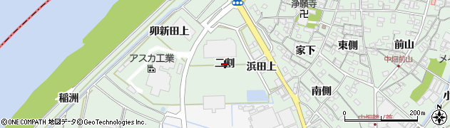 愛知県西尾市中畑町(二割)周辺の地図