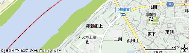 愛知県西尾市中畑町(卯新田上)周辺の地図