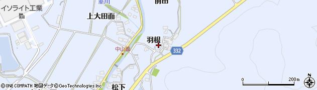 愛知県豊川市萩町(羽根)周辺の地図