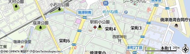 静岡県焼津市栄町周辺の地図