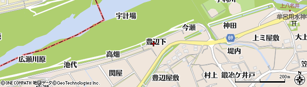 愛知県新城市八名井(豊辺下)周辺の地図