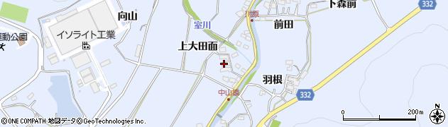 愛知県豊川市萩町(上大田面)周辺の地図