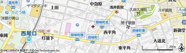 愛知県西尾市熊味町(当良木)周辺の地図