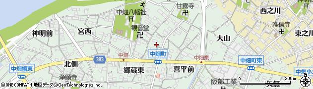 愛知県西尾市中畑町(小中)周辺の地図