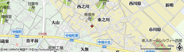 愛知県西尾市田貫町周辺の地図