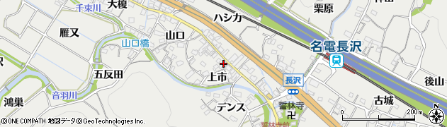 愛知県豊川市長沢町(上市)周辺の地図