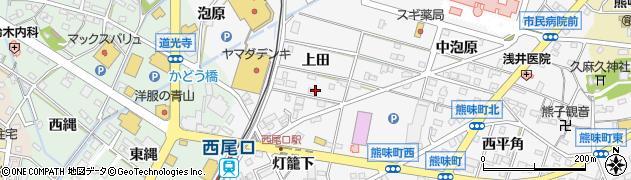 愛知県西尾市寄住町(上田)周辺の地図