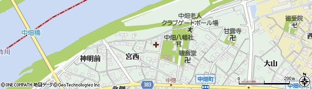 愛知県西尾市中畑町(宮前)周辺の地図