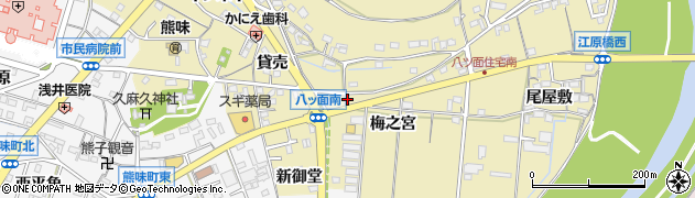 愛知県西尾市八ツ面町(梅之宮)周辺の地図