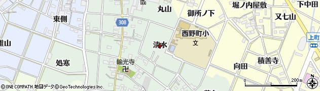 愛知県西尾市下町(清水)周辺の地図