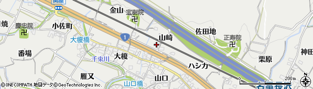 愛知県豊川市長沢町(山崎)周辺の地図