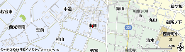 愛知県西尾市小間町(東側)周辺の地図