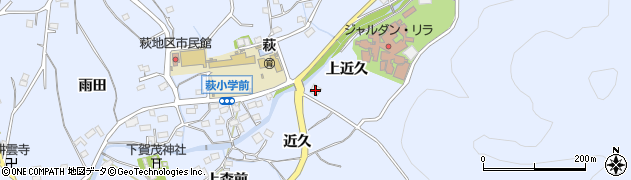 愛知県豊川市萩町(上近久)周辺の地図