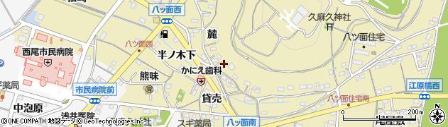 愛知県西尾市八ツ面町(麓)周辺の地図