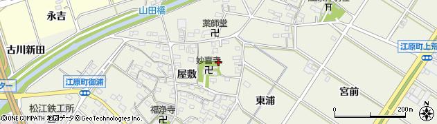 愛知県西尾市江原町周辺の地図