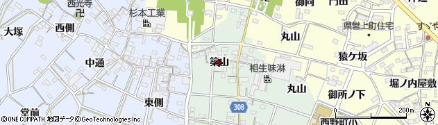 愛知県西尾市下町(築山)周辺の地図