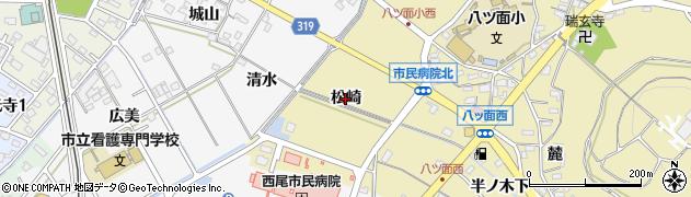 愛知県西尾市八ツ面町(松崎)周辺の地図