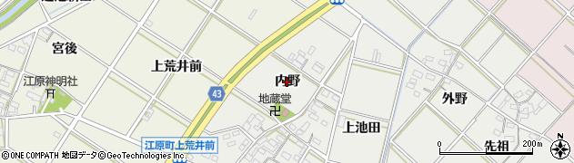 愛知県西尾市尾花町(内野)周辺の地図
