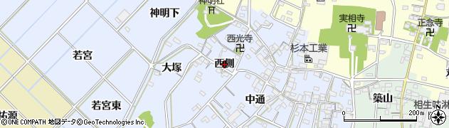 愛知県西尾市小間町(西側)周辺の地図