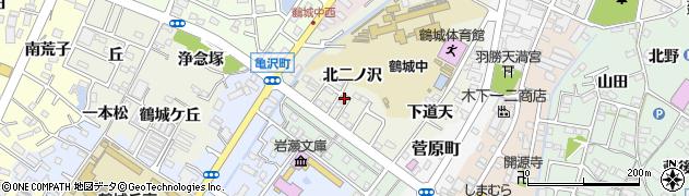愛知県西尾市鶴城町(北二ノ沢)周辺の地図