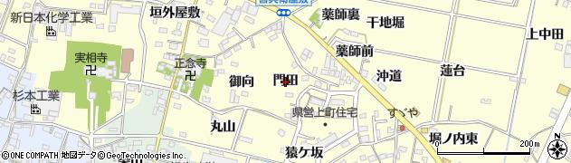 愛知県西尾市上町(門田)周辺の地図