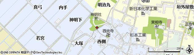 愛知県西尾市小間町周辺の地図