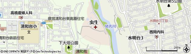 兵庫県川西市虫生(下大畑)周辺の地図