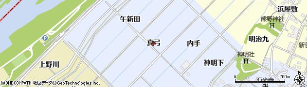 愛知県西尾市小間町(真弓)周辺の地図