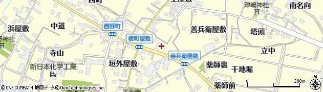 愛知県西尾市上町(横町屋敷)周辺の地図