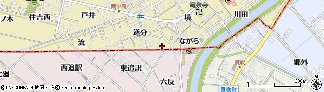 愛知県岡崎市中島町(東追訳)周辺の地図