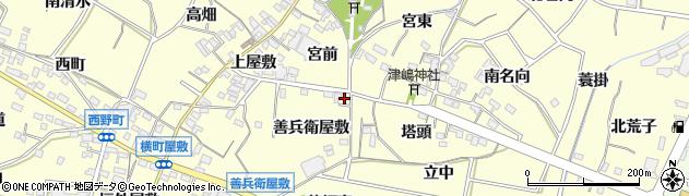 愛知県西尾市上町周辺の地図