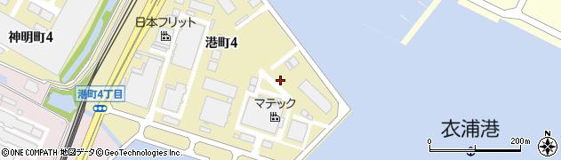 愛知県半田市港町周辺の地図